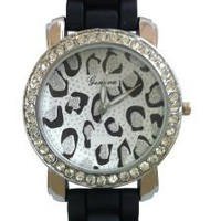 Geneva Womens Black Silver Leopard Face Big Dial Watch Silicone Jelly Band Silver Tone CZ Rhinestone Accented Bling Bezel: Watches: Amazon.com