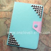 Silver studs ipad mini case,mint green case,mint green leather ipad cover, mint green ipad mini cover