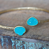 Turquoise Druzy Wrap Bangle Bracelet