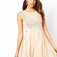 Little Mistress Applique Mesh Prom Dress at asos.com