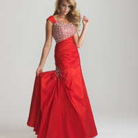 Red Beaded & Gathered Taffeta Cap Sleeve Lace Up Modest Prom Dress - Unique Vintage - Cocktail, Pinup, Holiday & Prom Dresses.