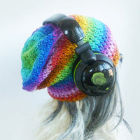 Slouchy Gaming Beanie - Crazy Rainbow - Red Orange Purple Green Blue Pink Womens Mens Hand Crochet Hat - Gay Pride LGBT