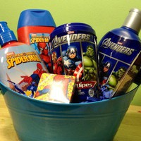 Marvel Bath Set Gift Basket Avengers Spider-Man Hulk Iron Man Captain America