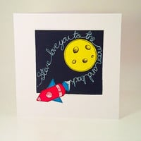 Valentine Handmade Greeting Card Personalized Love You To The Moon and Back