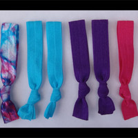 8 Elastic HAIR TIES, bright Colors, Tye Dye, Peacock Blue, Hot Pink, Purple, Turquoise - No Tug, Dent, Valentine Gift for Teen or Her