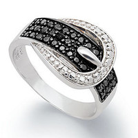 Victoria Townsend Sterling Silver Ring, Black Diamond (1/4 ct. t.w.) and White Diamond Accent Buckle Ring - Rings - Jewelry & Watches - Macy's