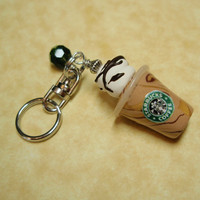 Frosty Icy Starbucks COFFEE Drink Mini Key Ring Charm - Handmade from My Bead Garden