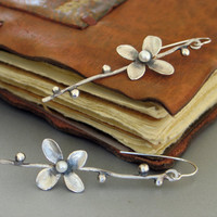 Silver Flower branch Earrings with Pearl FREE by mariastudio