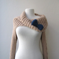 Knit Turtleneck Shrugcable patternbeige by KnitAndWedding on Etsy