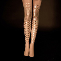 EXCLUSSIVE Hand Printed Tights - Goldfish, Gold on Sheer 'cashemere'color, Flash Back collection