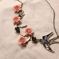 Delicate Romantic Branches And Birds Big Fake Collar Necklace With Bronze Roses And Pink Flowers