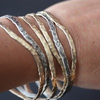 Hammered Mixed Metal Bangles- set of 3 - as seen on E News