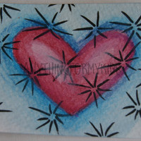 ACEO Original Sparkle Watercolor - With All My Heart Series 10