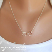 Sterling Silver Infinity Necklace  Infinity Charm by morganprather