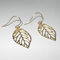 Delicate Leaf Dangle Earrings in Gold by morganprather on Etsy