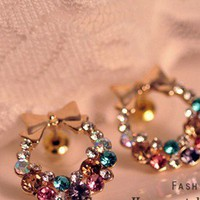 OE0040 exquisite flash bright fancy color colorful rhinestone bow earrings 4g from Fashion4you