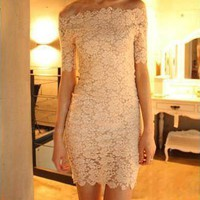 Off The Shoulder Short Sleeve Lace Dress