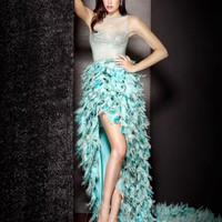 Beaded and Feather Gown