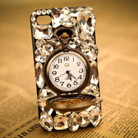 Fashion Rhinestone Retro Watch Hard Cover Protective Case For Iphone 4/4s/5