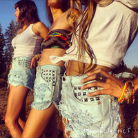 Urban Eclectics — UE Mint High Waisted Studded Shorts