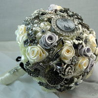Black &amp; White Bridal Brooch Bouquet Free Shipping by annasinclair