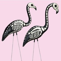 2 Halloween Skeleton Yard Flamingos Lawn Decor Ornaments - Great for Halloween Haunted House or Ove