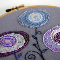 Three Embroidered Fabric Flowers in Lavender by sometimesiswirl
