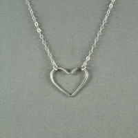 Sterling Silver Hammered Heart Necklace, Simple, Delicate, Everyday Wear Necklace