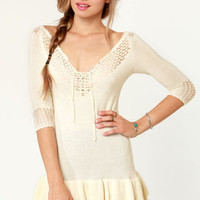 LULUS Exclusive Snow Bunny Cream Mini Dress