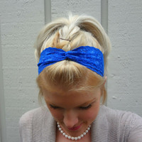 Cobalt blue twist stretch lace headband - feminine - classic - romantic