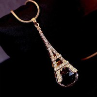 Eiffel Tower Exotic Fantasy Crystal Ball Necklace - Necklaces - Jewelry Free shipping