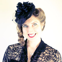 1940s Inspired Black Dahlia Cocktail Hat by tuppencehapenny