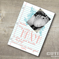 Custom printable birth announcement - Girl Note pad model