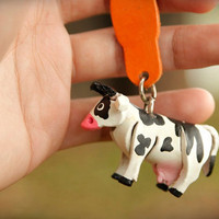 Leather Cow Key Chain by DoggyBoggy on Etsy