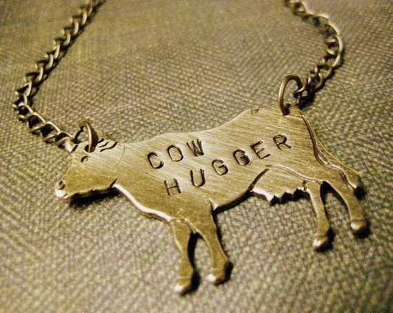 Cow Hugger Necklace by roamingrabbit on Etsy