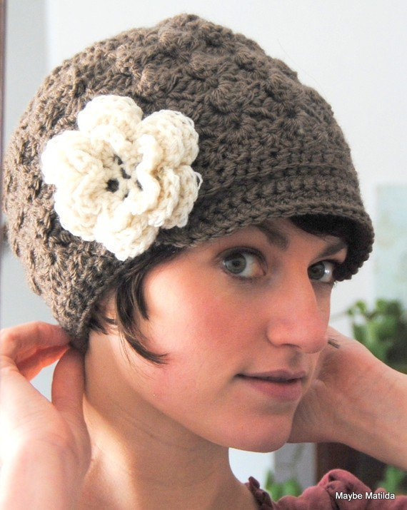 Free Crochet Pattern For Ladies Beanie Hat : Adult Crochet Brimmed Beanie Hat with from maybematilda on ...