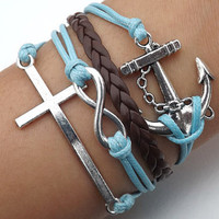 Unisex  simple fashion silver 8 infinity wish, anchor and cross bracelet--blue wax rope and brown Leather braided leather bracelet