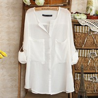 V-Neck Loose White Blouse on Luulla