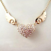 Enchanting Flying Crystal Heart Rose Gold Necklace. Angel Heart