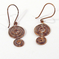 Oxidized Copper Double Spiral Earrings