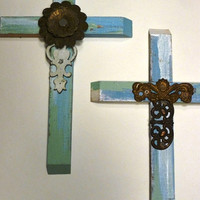 Rose Cross   Shabby Chic Cross with Vintage Touches- OOAK