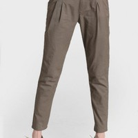 rhode island belted trousers in taupe at ShopRuche.com