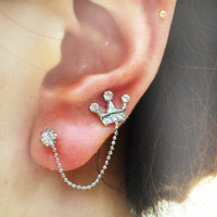 Fashion crown double-pierced ears stud earring   from looback