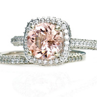 14K Morganite Wedding Set Diamond Halo Morganite Engagement Ring 14K 18K White Yellow Rose Gold Platinum Bridal Jewelry