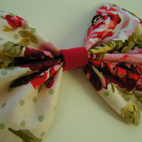 Floral pattern in red peach and green medium size fabric Bow for teens and women,french barrette, hair bows