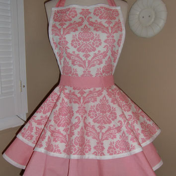 Pink Damask Print Womans Retro Apron With Tiered by mamamadison