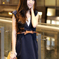 Ladies Blue Bowtie Adorned Vest Dresses Girls : Wholesaleclothing4u.com