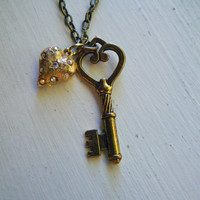Antiqued Gold Key and Heart Necklace