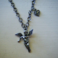 Angel and Heart Gunmetal Necklace