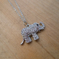 Elephant necklace with clear crystals - Large Elephant Necklace